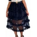 Summer Hot Sexy Polka Dot Sheer Mesh Belt-Front Midi Skirt