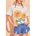 Summer Girls Cute Sunflower Pattern Round Neck Short Sleeve White Casual Tee