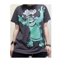 Funny Cartoon Character Printed Round Neck Short Sleeve Grey Relaxed Fit T-Shirt