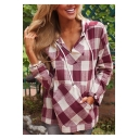Womens Hot Popular Classic Check Printed V-Neck Long Sleeve Hooded Blouse Top