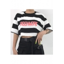 Summer Trendy Black and White Striped Letter ROCKMORE Pattern Short Sleeve Crop Tee