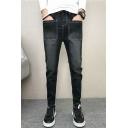 Men's Fashion Vintage Solid Color Multi-pocket Casual Slim Jeans