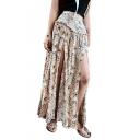 Summer Fashion High Waist Beige Floral Print Split Front Maxi Boho Skirt