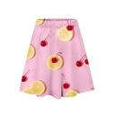 Cool Unique Hot Fashion Fruit Print Elastic Waist A-line Mini Skirt for Sweet Girls