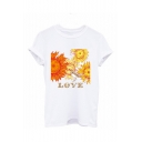 New Arrival Summer White Round Neck Letter Love Sun Printed Short Sleeve T-Shirts