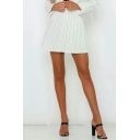 Summer Hot Fashion White High Waist Stripped Print Button Detail Zip-Side Mini Chic Skirt