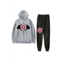 Popular Comic Logo Printed Casual Hoodie with Loose Sweatpants Two-Piece Set