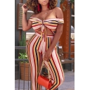 Summer Hot Trendy Womens Striped Printed Off Shoulder Wide Leg Bustier Jumpsuits