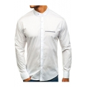 Mens Trendy Simple Plain Stand Collar Long Sleeve Fitted Business Button Shirt