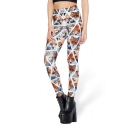 Womens Popular High Waist Fox Check Printed Skinny Legging Pants