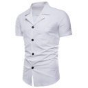 Mens Stylish Simple Plain Notched Lapel Collar Short Sleeve Cotton Fitted Button Shirt