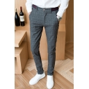 Men's New Stylish Contrast Stripe Waist Plaid Pattern Casual Cotton Dress Pants