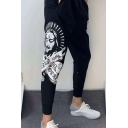 Men's Popular Fashion Letter Figure Pharaoh Printed Black Drawstring Waist Casual Sweatpants