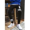 Men's Popular Fashion Letter GOOD Eagle Stripe Printed Black Relaxed Sweatpants