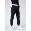 Guys Popular Fashion Contrast Stripe Side Black Cotton Casual Sports Tapered Pants