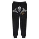 Men's Popular Fashion Letter KING Skull Printed Drawstring Waist Casual Sports Sweatpants