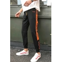 Guys New Fashion Letter Stripe Side Drawstring Waist Casual Relaxed Sweatpants
