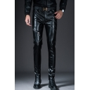 Men's New Fashion Simple Plain Rivet Zipper Embellished Black PU Leather Pants