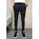 Men's Popular Fashion Plaid Pattern Drawstring Waist Black Casual Slim Pencil Pants