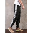 Guys New Fashion Colorblock Patched Side Letter Printed Drawstring Waist Casual Cotton Tapered Pants