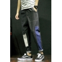 Men's Trendy Colorblock Patched Drawstring Waist Casual Tapered Pants