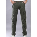 Men's Popular Fashion Solid Color Multi-pocket Straight Tactical Cargo Pants