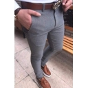 Men's Trendy Solid Color Slim Fitted Casual Basic Dress Pants