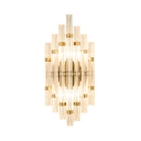 Contemporary Tube Wall Lamp Clear Crystal Gold Finish Sconce Light for Bedroom Study Room