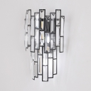 Mosaic Hallway Hotel Wall Light Clear Crystal Modern Style Wall Lamp in Black
