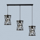 Cylinder Cage Dining Room Pendant Light Metal 3 Lights Industrial Hanging Light in Black