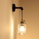 Clear Jar Shape Hanging Wall Sconce 1 Bulb Simple Stylish Glass Wall Light for Bedroom Kitchen