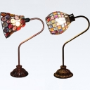 Moroccan Flared/Globe Desk Light Metal 1 Bulb Copper Table Light with Colorful Crystal for Office