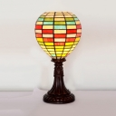 Tiffany Balloon Shape Table Light Stained Glass One Head Night Light for Study Room