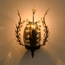 Living Room Candle Wall Light Metal 1 Light Rustic Stylish Black Sconce Light with Crystal Leaf