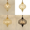 1/4/6 Lights Lantern Pendant Light with Crystal Luxurious Style Chandelier in Black/Gold for Study Room