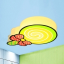 Lovely Bow Lollipop Flush Ceiling Light Acrylic Ceiling Lamp in Green/Pink for Boys Girls Bedroom
