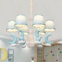 Resin Sleeping Moon Chandelier 5/6 Lights Lovely Hanging Light in Blue for Kid Bedroom