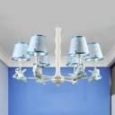 Child Bedroom Panda Chandelier Metal 3/6 Lights Lovely Pendant Light with Blue/Pink Shade