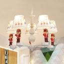 5/6 Lights Soldier Chandelier Modern Lovely Metal Ceiling Pendant in White for Living Room