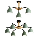 Metal Bowl Shade Chandelier Restaurant 3/6 Lights Macaron Loft Hanging Light in Green Finish