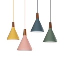 Nordic Style Conical Pendant Light One Bulb Metal Ceiling Light in Blue/Green/Pink/Yellow for Restaurant