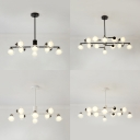 Contemporary Black/White Island Light Oval Shade 8/12 Bulbs Glass Island Pendant for Dining Room