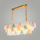 14 Lights Dot Island Chandelier Romantic Glass Multi-Color Island Pendant for Bedroom Hotel