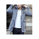 Teenagers Simple Plain Heather Color Hooded Zip Up Fitted Longline Knit Coat Jacket
