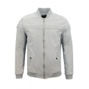 Mens New Trendy Basic Simple Plain Stand Collar Long Sleeve Zip Up Baseball Jacket