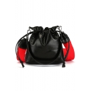 Trendy Solid Color Drawstring Crossbody Bucket Bag with Strap for Women 18*19*5 CM