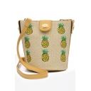 New Fashion Pineapple Embroidery Pattern Straw Crossbody Bucket Bag 20*17*14 CM