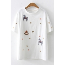 Chic Horse Embroidery Round Neck Short Sleeve Loose T-Shirt