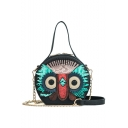 Designer Creative Owl Pattern Top Handle Round Crossbody Bag 13*15*9 CM