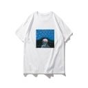 Nasa Astronaut Pattern Round Neck Cotton Loose Unisex T-Shirt